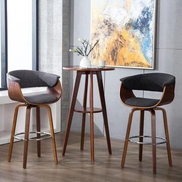 Porthos Home Bar height Stools, Curved Back/Seat, Fabric Upholstery
