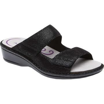 Aravon Women's Cambridge Slide Sandal Black Leather