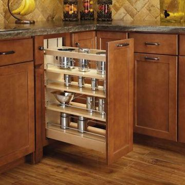 Rev-A-Shelf - 448-BCSC-8C - 8 in. Pull-Out Wood Base Cabinet Organizer with Soft-Close Slides