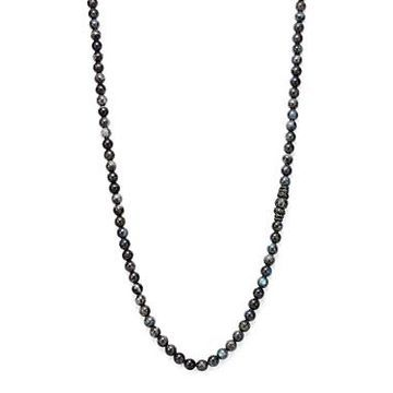 Armenta Old World Midnight Labradorite Bead Necklace with Carved Tahitian Pearl and Black Sapphire, 39