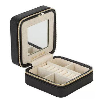 Simplify Mini Faux Leather Zippered Travel Jewelry Organizer Box, Women's, Black