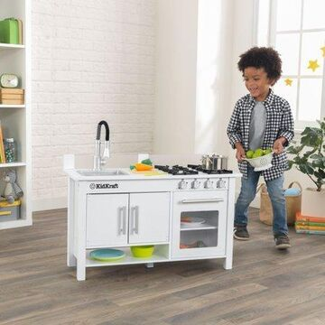 KidKraft Wooden Little Cook's Work Station Kitchen with 0 Piece Accessory Play Set