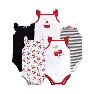 Hudson Baby Girls' Infant Bodysuits Cherries - Red & White Cherry Angel-Sleeve Bodysuit - Set of Five
