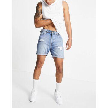 Jack & Jones Intelligence loose fit denim shorts with rips in light blue-Blues