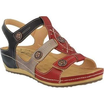 L'Artiste by Spring Step Women's Melissa Wedge Sandal Red Multi Leather