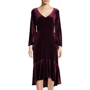 High-Low Velvet Sheath Dress