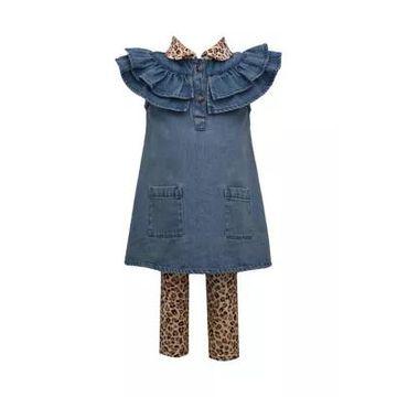 Bonnie Jean Girls' Baby Girls Denim Dress And Printed Legging Set - -