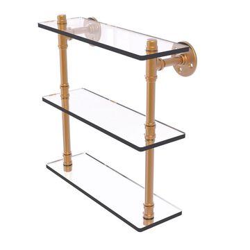 Allied Brass Pipeline Collection Triple Glass Shelf