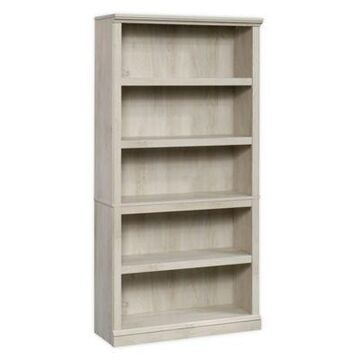 Sauder 5-Shelf Bookcase in Warm Chestnut/Beige