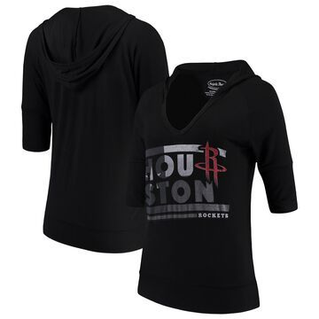Women's Majestic Threads Black Houston Rockets City State Elbow Sleeve V-Neck Hooded Pullover Top