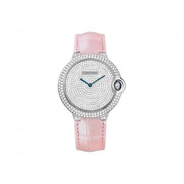 Cartier Women's WE902042 'Ballon Bleu' Diamonds Pink Leather Watch (Strap - Pink - Stainless Steel - 30 Meters - 8 Inch - Female - Round - New - 36mm