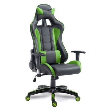 Costway High Back Racing Reclining Gaming Chair Swivel PU Leather Offi
