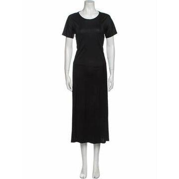 Crew Neck Long Dress Black