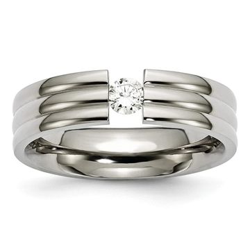 Chisel Titanium Grooved 6mm Diamond Polished Standard Fit Wedding Band (8.5)