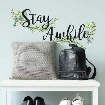 RoomMates RMK3883SCS Stay Awhile Quote - Self-Adhesive Repositionable
