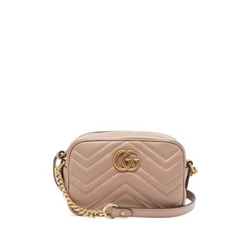 Gucci - Gg Marmont Mini Quilted-leather Cross-body Bag - Womens - Nude
