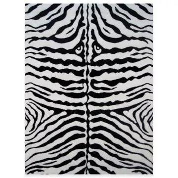 Fun Rugs Zebra Skin 1-Foot 7-Inch X 2-Foot 5-Inch Accent Rug In White/black