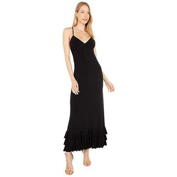 Norma Kamali Slip A-Line Dress To Midcalf w/ Ruffle Bottoms