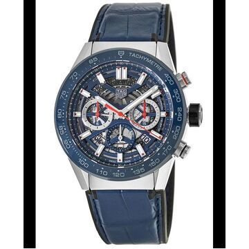Tag Heuer Carrera Calibre Heuer 02 45mm Blue Skeleton Dial Leather Strap Men's Watch CBG2A11.FC6460 CBG2A11.FC6460