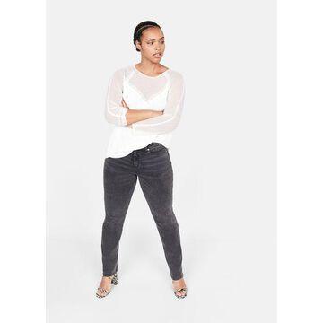 Violeta BY MANGO - Plumeti panel blouse off white - 14 - Plus sizes