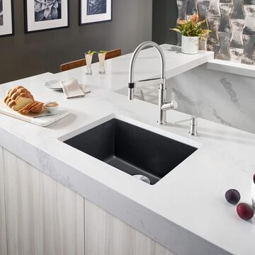 BLANCO Precis Undermount 26.81-in x 17.75-in Anthracite (Black) Single Bowl Kitchen Sink   522259