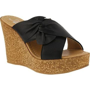 Azura Women's Veria Pleated Bow Slide Black Leather