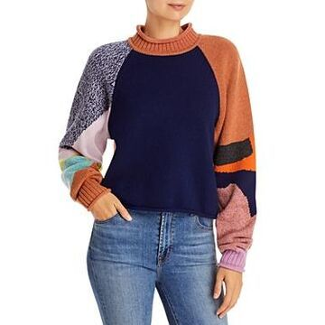 See by Chloe Intarsia Patchwork Knit Sweater