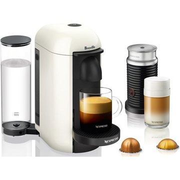 Nespresso VertuoPlus Coffee and Espresso Maker by Breville with Aeroccino Milk Frother, White