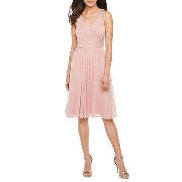 Jessica Howard Sleeveless Beaded Fit & Flare Dress