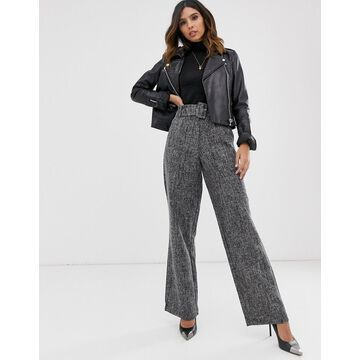 Y.A.S belted wide leg pants-Black
