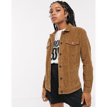 Noisy May oversized cord trucker jacket-Brown