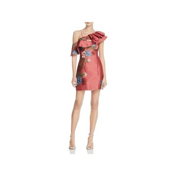 Keepsake Womens Party Dress Floral Print One Shoulder