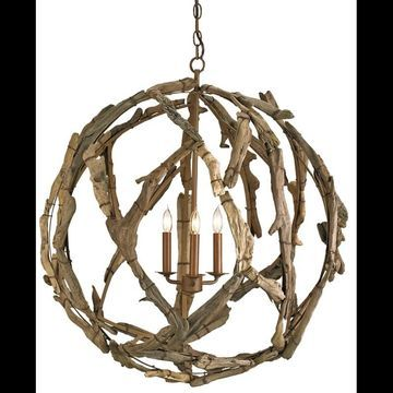 Currey and Company 9078 Driftwood 3 Light Chandelier in Natural Finish Natural Indoor Lighting Chandeliers