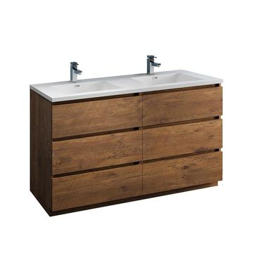 Fresca Fresca Lazzaro 60-in Rosewood Free Standing Modern Bathroom Cabinet with Integrated Double Sink in Brown