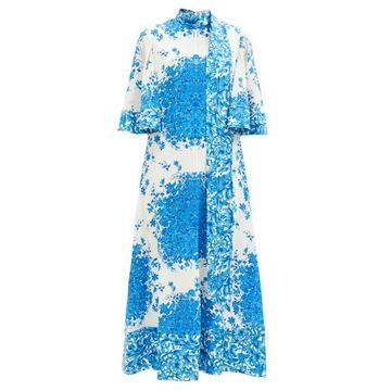 Valentino - Delft-print Scarf-neck Silk Midi Dress - Womens - Blue White