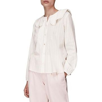 Whistles Darcie Collared Pleated Top