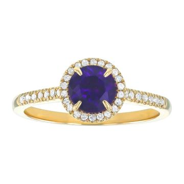 10k Yellow Gold 7/8ct Diamonds and Round Amethyst Halo Ring by Beverly Hills Charm