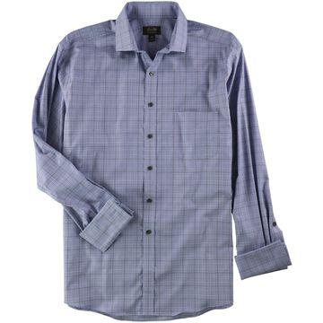 Tasso Elba Mens Plaid Button Up Dress Shirt