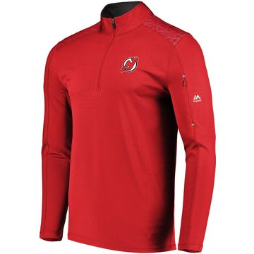 Majestic Men's New Jersey Devils Ultra Red Quarter-Zip Pullover