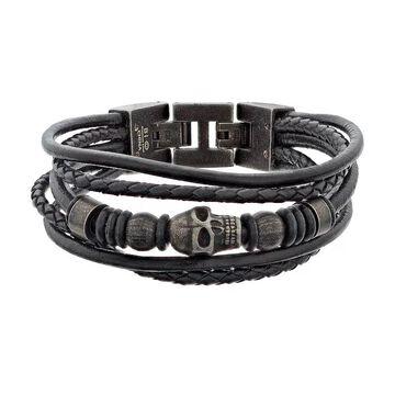 LYNX Men's Black Leather Multistrand Bracelet, Women's, Silver