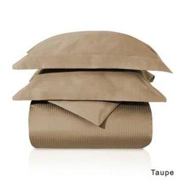 Superior Egyptian Cotton 1000 Thread Count Stripe Duvet Cover Set (Taupe - Queen/Full - Queen/Full)