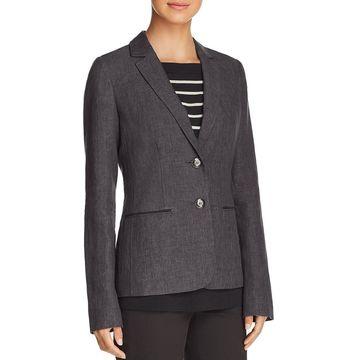 Lafayette 148 New York Womens Linen Office Two-Button Blazer