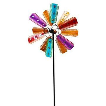 Alpine Colorful Kinetic Wind Spinner Garden Stake w/ Gems, 86 Inch Tall