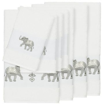 Authentic Hotel and Spa Turkish Cotton Elephants Embroidered White 8-piece Towel Set