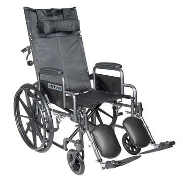 Drive Medical Silver Sport Reclining Wheelchair with Detachable Desk Arms and Leg Rest 18 Inch Seat Silver Vein
