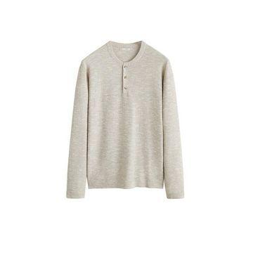 MANGO MAN - Flecked cotton linen-blend sweater beige - M - Men
