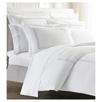 Silver Embroidered Scroll Border Catena Duvet Cover (King) Silver - Kassatex