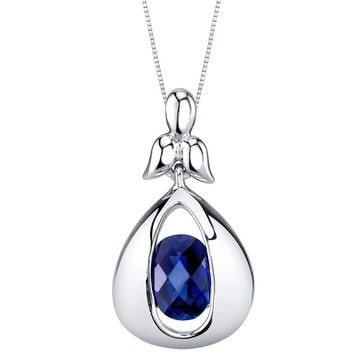 Oravo Created Sapphire Sterling Silver Cascade Pendant Necklace - Blue