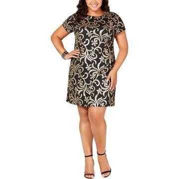 Kensie Womens Plus Sheath Dress Metallic Sequined