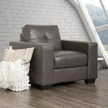 CorLiving Tufted Bonded Leather Armchair (Grey)